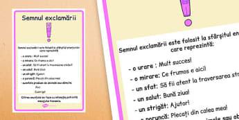 Semnul exclamării - Planșă - semnul exclamării, semne de punctuație, punctuație, planșă, explicații, exemple, romanian, materiale, materiale didactice, română, romana, material, material didactic