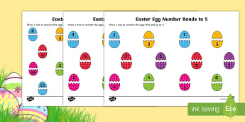 Easter Themed Number Bonds to 5, 10 and 20 Activity Sheets  - CfE Early Level Easter Themed Maths Activities, number bonds, counting,Scottish, worksheet, number p
