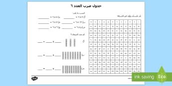 6 نشاط جدول ضرب العدد - ضرب، الضرب، ضرب الأعداد،أوراق عمل، شيتات، أعداد، الأع