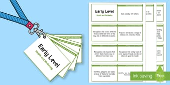 CfE Early Level Health and Wellbeing (Food and Health) Lanyard-Sized Benchmarks-Scottish - CfE Benchmarks, tracking, assessing, progression, health and wellbeing, food, health, HWB, Curriculu
