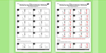 Y3 Inverse Check 2 Digit 2 Addition Subtraction with Carrying Activity Sheet, worksheet