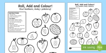 Fruit Roll and Colour Dice Addition Activity Polish Translation-Polish-translation - Fruit Roll and Colour Dice Addition Activity - fruit, addition, +, adition, additon,Polish-translati