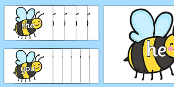 Phase 3 Tricky Words On Bees - phase 3, tricky words, bees, bumble bee, phase, words