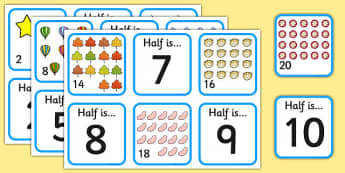 Halving Matching Cards - halving, maths, cards, flashcards, card, matching, activity, halves, numeracy, adding, multiplication, calculation, foundation numeracy