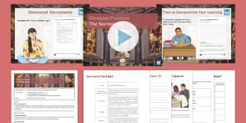 The Sacraments Lesson Pack - Sacraments, baptism, holy communion, denominations