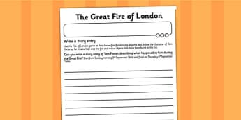 The Great Fire of London Diary Entry Activity Sheet- london, diary