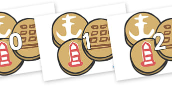 Numbers 0-100 on Sea Biscuits to Support Teaching on The Lighthouse Keeper's Lunch - 0-100, foundation stage numeracy, Number recognition, Number flashcards, counting, number frieze, Display numbers, number posters