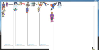 Superhero Page Borders - Page border, border, writing template, writing aid, Superhero, superheroes, hero, batman, superman, spiderman, special, power, powers, catwoman, liono, he-man