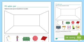 My Living Room Activity Sheet - Spanish Vocabulary, home, house, living room, activity, sheet