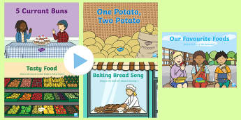 Food Songs and Rhymes PowerPoints Pack - food, eating, cakes, buns, singing, song time, PowerPoint