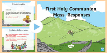 First Holy Communion Mass  Responses Powerpoint PowerPoint - English / Gaeilge - Confession & First Communion Resources,Irish