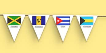 Caribbean Islands Display Bunting - caribbean islands, display bunting, display, bunting, caribbean