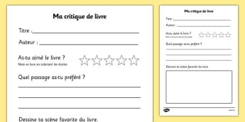 Support pour la production écrite de critiques de livres - french, book review, book review template, my book review, book report, book report template, reading, reading and writing, Critique, livre, écriture, lecture