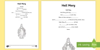 Hail Mary Missing Words Differentiated Activity Sheets-Scottish - CfE Catholic Christianity, prayers, mass responses ,Scottish