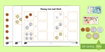 * NEW * Money Cut and Stick Activity Sheet - Money, pounds, sterling, coins, notes, pay, change, posters, display, equivalent, money, money value