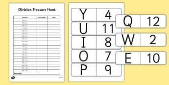 Dividing by 2, 5 and 10 Treasure Hunt - dividing, 2, 5, 10, treasure hunt, activity, treasure, divide, numeracy, maths
