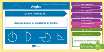 Geometric Reasoning Content Descriptors Display Posters - geometry, geometric reasoning, australian curriculum, australia, angles, outcomes, curriculum, angle