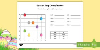 Easter Egg Coordinates Activity Sheet - KS2, Maths, worksheet, coordinates, reading coordinates, Describe positions on a 2D grid as coordina