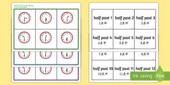 Half Past Time Bingo English/Mandarin Chinese - Half past time bingo, Time bingo, time game, Time resource, Time vocaulary, clock face, Oclock, half