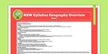 NSW Stage 3 Geography Syllabus Overview - australia, syllabus, nsw