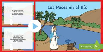 Presentación: Los Peces en el Río - Navidad, villancico, canción, festival, presentación, Powerpoint,Spanish