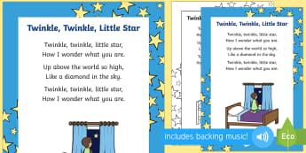 Twinkle, Twinkle, Little Star Rhyme Sheet - twinkle twinkle little star, nursery rhyme, nursery, rhyme, sing, lyrics, pack, track