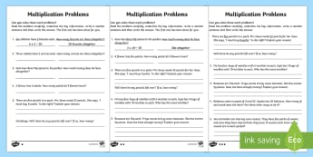 Year 2 Multiplication Word Problems Homework Activity Sheet - year 2, maths, homework, multiplication, word problems, problem solving, division,Worksheet, inverse