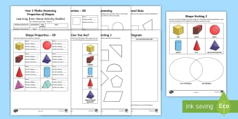 Year 2 Maths Geometry: Properties of Shapes Home Learning Activity Booklet - Learning from Home Activity Booklets, year2, y2, shape, properties, geometry, maths, numeracy, paren