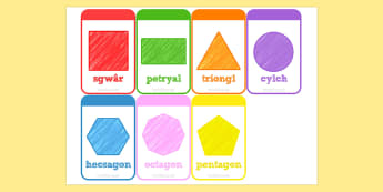 2D Shapes Flashcards Welsh - 2d, shapes, flashcards, welsh, cards