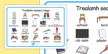 Trealamh seomra ranga Word Mat Gaeilge - roi, irish, gaeilge, classroom objects, word mat, word, mat