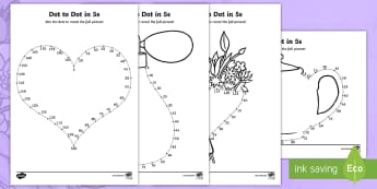 Mother's Day Dot to Dot in 5s Activity Sheet - Mother's day, mothering sunday, 5s, fives, time tables, Worksheet