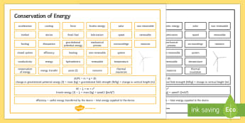 Edexcel Physics Conservation of Energy Word Mat - Word Mat, edexcel, gcse, physics, conservation of energy, energy, gravitational potential, kinetic e