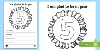 Im Glad to be in Year 5 Writing Frame - writing template, write