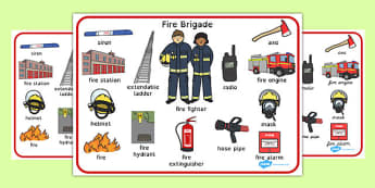 Fire Brigade Word Mat - fire brigade, word mat, word, mat, fire