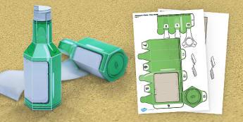 Message in a Bottle Paper Model - message, bottle, paper, model