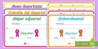 Diplomas: Educación física - deporte, deportes, educación física, escuolimpiadas, ,Spanish