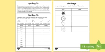 Year 1 Spelling Practice 'ck' Homework Activity Sheet - ks1, English, year 1, practice, home learning, home work, homework, Worksheet, practise, SPaG, spell
