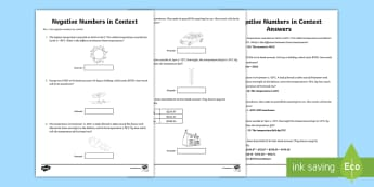 Use Negative Numbers In Context No.2 Activity Sheet - maths, mathematics, numeracy, negative numbers, word problems, problem solving, money, temperature,