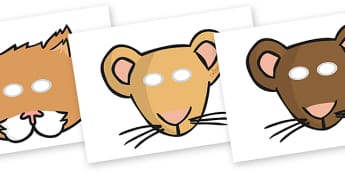 The Town Mouse and the Country Mouse Role Play Masks - the twon mouse and the country mouse, town mouse and country mouse masks, story role play, masks