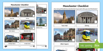 Manchester Checklist Activity Sheet - Worksheet, city, outing, holiday, day trip, family, towns and cities
