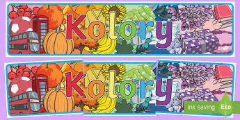 Banner na gazetkę Kolory - kolor, kolory, kolorowy, kolorowanie, malowanie, farby, plastyka, technika, przedszkole, zerówka, p