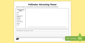 Design A Pollinator Attracting Flower Activity Sheet - flowers, flower design, pollination, pollinators, flowers and pollination, flowers and pollinators,