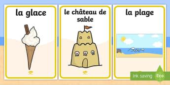 Posters d'affichage : L'été - posters d'affichage, poster, été, vacances, plage, mots, illustration, vocabulaire, affichage, Su