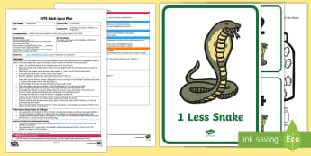EYFS 1 Less Snake Adult Input Plan and Resource Pack - EYFS Number ELG, mathematics, early years, EYFS Planning, Adult led, snake, 1 less, find, numeral, n