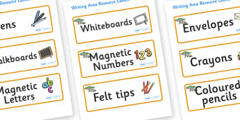 Safari Themed Editable Writing Area Resource Labels - Themed writing resource labels, literacy area labels, writing area resources, Label template, Resource Label, Name Labels, Editable Labels, Drawer Labels, KS1 Labels, Foundation Labels, Foundation