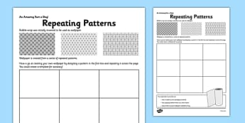 Repeating Patterns Activity Sheet - repeating pattern, wallpaper, fact of the day, activity, worksheet