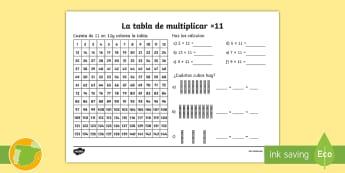Ficha de actividad: La tabla de multiplicar x11 - tabla de multiplicar, múltiplos, ficha, mates, matemáticas, x11, por once, multiplicar, multiplica