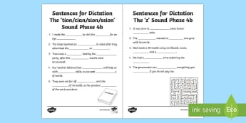 Northern Ireland Linguistic Phonics Stage 5 and 6, Phase 4b 'tion/cian/sion/ssion' and 'z' Dictation Sentences Activity Sheets  - NI, mising word, cloze, Worksheets, words, word ending, 'tion', 'cian', 'sion', 'z', sound