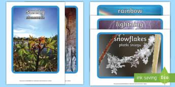 Weather Display Photos English/Polish - Weather display photos, Display Posters, Weather, A4, display, posters, rain, wind, sun, snow, thund
