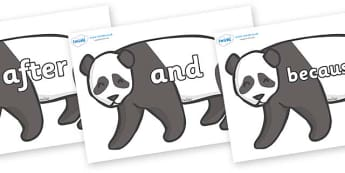 Connectives on Pandas - Connectives, VCOP, connective resources, connectives display words, connective displays